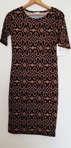 LuLaRoe Julia tshirt dress in gold & black print